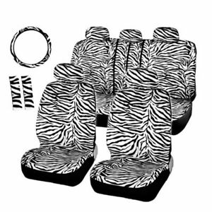 Zebra Soft Plush Car Seat Covers Protector Front Back W Steering Wheel Cover