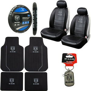 10pc Dodge Ram Car Truck Suv Rubber Floor Mats Seat Covers Steering Wheel Cover