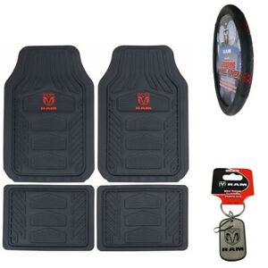 6pc Dodge Ram Car Truck Suv Rubber Floor Mats Steering Wheel Cover Key Chain Set