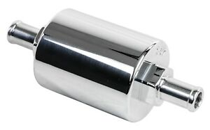 New Billet Specialties Inline Fuel Filter 3 8 Barb polished Aluminum 40 micron