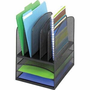 Safco Onyx Mesh Desktop Organizer 5 Vertical Sections 3 Horizontal Shelves Blk