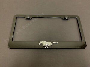 1x Running Horse Pony 3d Emblem Black Stainless License Plate Frame Screw Caps
