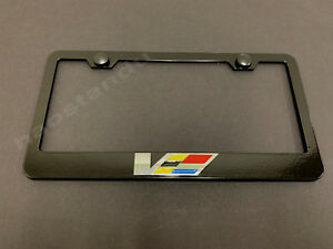 1x Ats Cts V Logo 3d Emblem Black Stainless License Plate Frame Rust Free Scaps