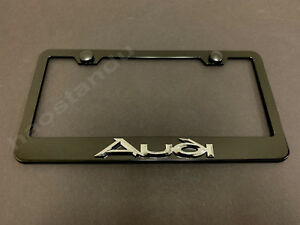 1x Audistyle 3d Emblem Black Stainless License Plate Frame Rust Free Screw Cap