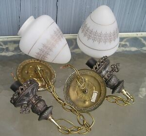 Mid Century Modern Pair Chain Hanging Ceiling Lights With Lamp Globes Vintage