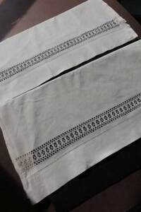 Pair Vintage White Cotton Pillowcases With Drawnthread Hems