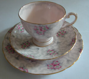 Tuscan Trio Pink Flowers Tea Cup Saucer And Salad Lunch Plate