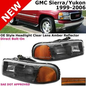 For Gmc Yukon Sierra 99 06 Clear Lens Black Amber Headlamps Light Replacement