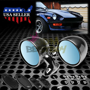 Universal Chrome Hotrod Muscle Car Vintage Side Mirror Set Both Driver Passenger