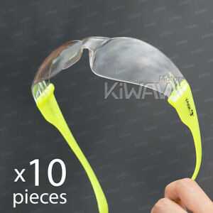 Safety Glasses Va780 Clear Lens Yellow Frame Ansi Z87 En166 Ce 10pairs Lot