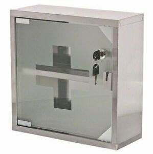 First Aid Cabinet Stainless Steel Locking Medicine Case Emergency Wall Mount