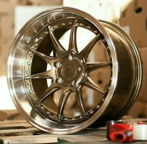 19x9 5 5x114 3 15 Bronze Machined Lip Wheels Aodhan Ds07 19 Inch Rims Set 4