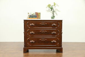 Victorian Antique Carved Walnut Dresser Or Linen Chest Marble Top 31034