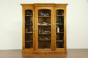 Victorian Antique English 1870 Curly Birch Triple Library Bookcase 31047