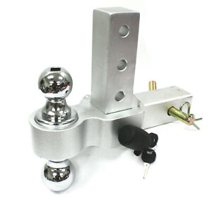 2 2 5 16 Dual Ball Mount Hitch Adjustable Aluminum Raise Drop Trailer Tow Lock