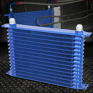 15 Row 10an Powder Coated Aluminum Engine Transmission Racing Oil Cooler Blue