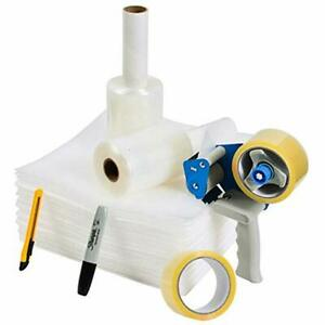 Packing Tape Moving Kit And Supplies With Shipping Gun Dispenser 2 Rolls 2 X 50