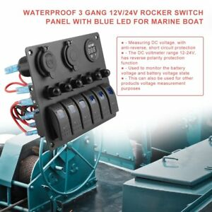 Dc Waterproof 6 Gang Toggle Rocker Switch Panel Car Marine Boat Circuit Led