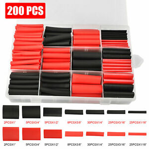 200pcs 3 1 Heat Shrink Tube Tubing Sleeving Wrap Wire Cable Insulated Assorted
