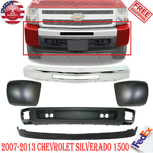 Front Bumper Chrome Lower Valance Deflector End Caps For 07 13 Silverado 1500