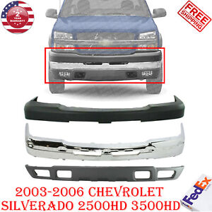 Front Bumper Chrome Steel Cover Kit For 2003 2006 Chevy Silverado 2500hd 3500hd