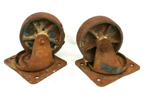 Vintage Lot 2 Industrial Machine Shop Cast Iron Furniture Cart Caster Wheel Set