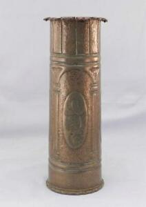 Antique 1917 Wwi Trench Art Vase Arts Crafts Hammered Copper After Roycroft
