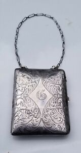 Antique Estate Sterling Silver Makeup Coin Purse Card Holder Case With Chain