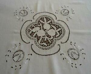 Antique French Linen Tablecloth Figural Needle Lace Fruit Apples Pears 63