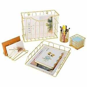 Office 5 In 1 Desk Organizer Set Gold Letter Sorter Pencil Holder Stick Note