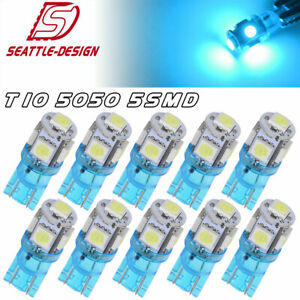 10x Ice Blue T10 5050 Led Dome Map Instrument Panel Dash Light Bulbs 192 194 175