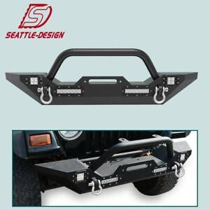 Front Bumper Winch Plate D Rings Led Lights For Jeep Wrangler 87 06 Yj Tj