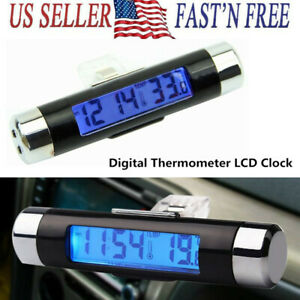 2 In 1 Car Digital Lcd Clock Thermometer Automotive Backlight Clock Temp Tester