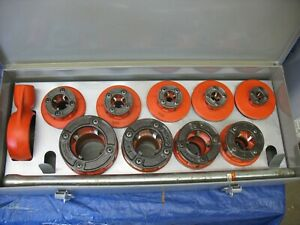 Ridgid Pipe Threader 12r Dies 1 8 2 Dies 9 With Ratchet Head In Box