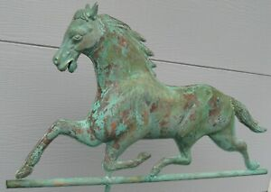Substantial Desirable Full Bodied Lg Running Horse Weathervane With Zinc Head
