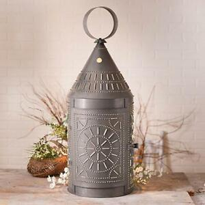 Tinner S 36 Tall Blacken Punched Tin Lantern W Chisel Design