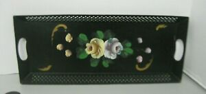 Black Floral Toleware Long Rectangle Vanity Tray Hand Painted Reticulated Rim