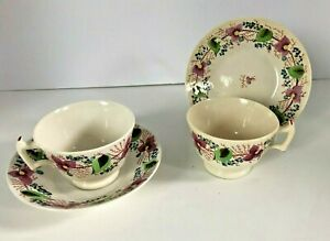 Pair Of Antique Staffordshire Pearlware Hand Painted Cups Saucers C 1830