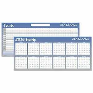 At a glance Large Horizontal Erasable Wall Planner 60 X 26 White blue 2019