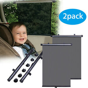 Pair Car Window Sun Shade Roller Blind Screen Protector Baby Kids Side Sun Visor