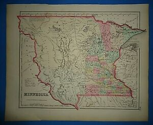 Vintage 1857 Minnesota Territory Map Old Antique Original Atlas Map