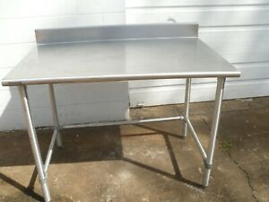 Used Stainless Steel 48 l X 30 w X 35 h Heavy Duty Commercial Food Prep Table