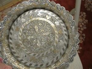 Antique Middle Eastern Round Tray 8 Silver Plated Brass 2 Tone Floral Design