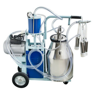 New Electric Milking Machine For Cows 25l Bucket Wheels Piston Vacuum Pump Usa