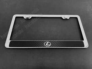 1x Lexuslogostyle Stainless Steel License Plate Frame W carbon Fiber Style
