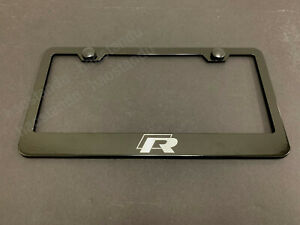1x R Line Black Stainless Metal License Plate Frame Screw Caps R Line