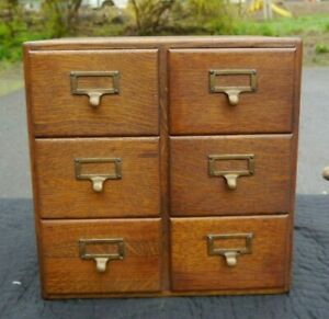 Antique 6 Drawer Golden Oak File Box Cabinet For 4x6 Index Cards