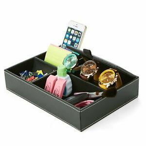 Mind Reader 5 Compartment Office Storage Tray Table Desk Organizer Leather