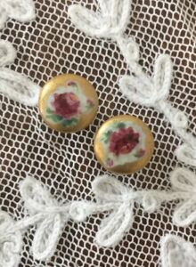 Set 2 Antique Hand Painted Roses Victorian Porcelain Stud Buttons Gold Trim 5 8