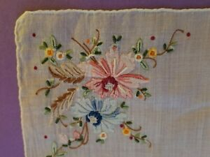 Vintage Linen Madeira Hand Embroidered Floral Flowers Handkerchief Hanky